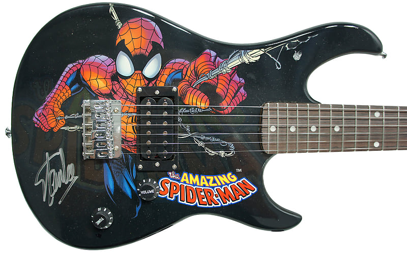 Peavey Marvel Spiderman 3/4 Size Electric Guitar Signed by Stan Lee with Certificate of Authenticity