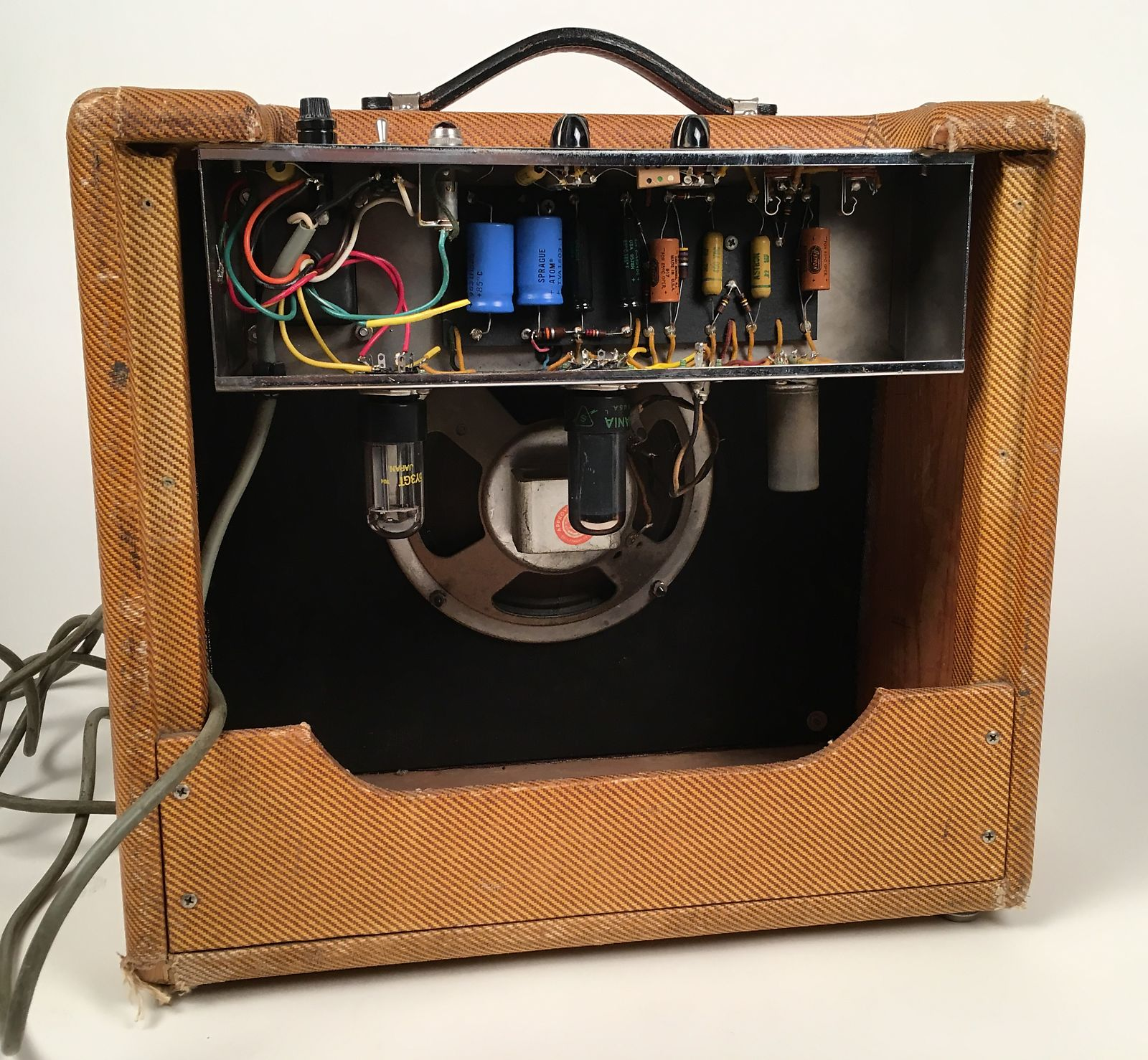 1959 Fender Princeton 5F2 A Tweed Tube Amplifier With Cover