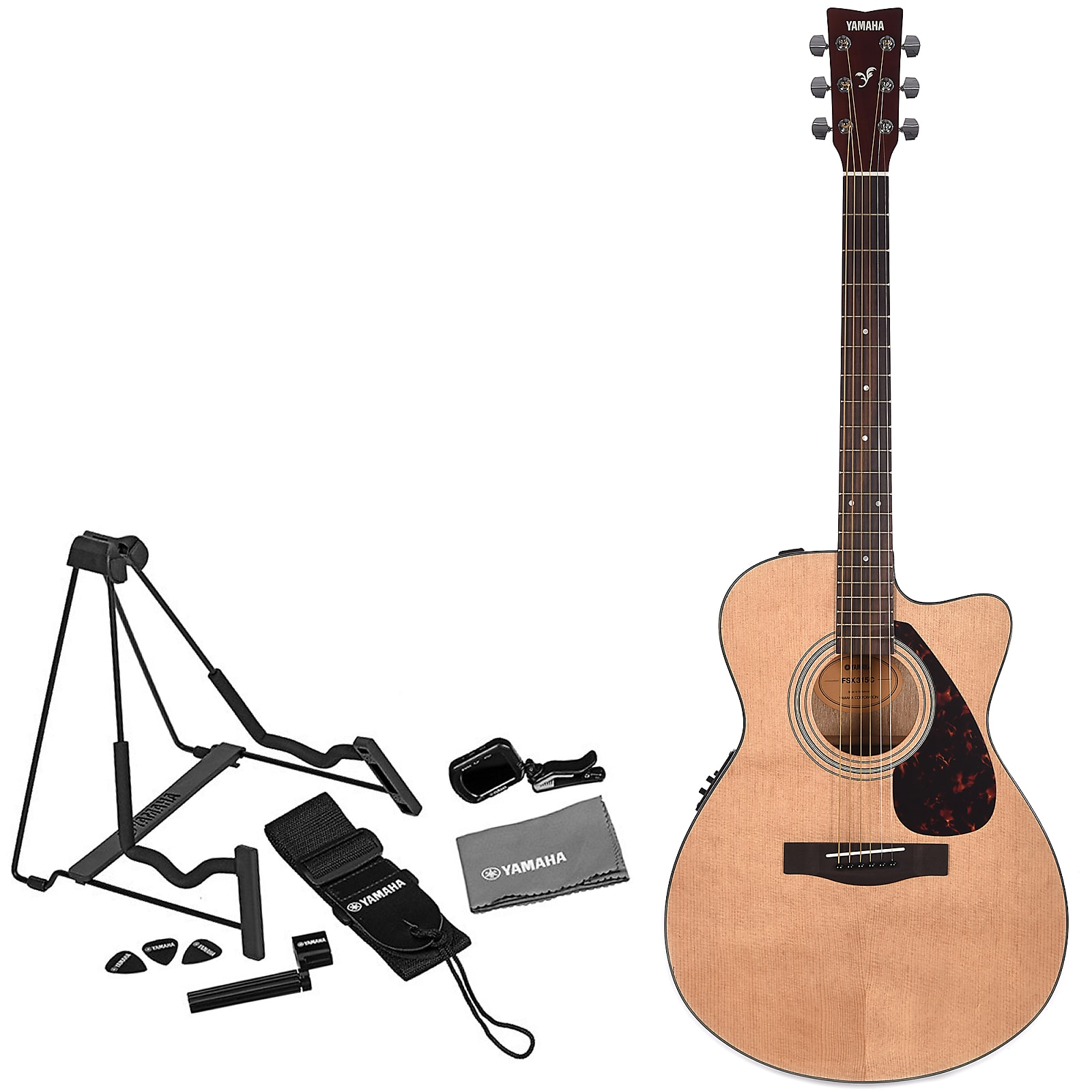 Yamaha Fsx315c Acoustic Electric Guitar Natural W Cutaway And Axpak