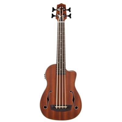Kala Journeyman Fretted Acoustic-Electric U-Bass Ukulele Bass F-Holes w/ Gig Bag