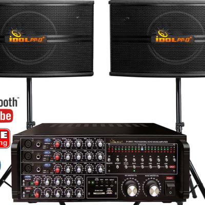 IDOLpro IP-3800 II 1300W Mixing Amplifier Plus IPS-590 Professional Studio Speakers Combo