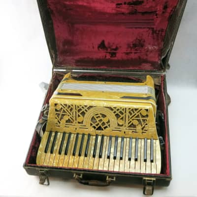 Excelsior Vintage Accordion Mother of Pearl Art Deco Italy 1930s