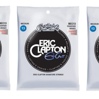 Martin MEC13 Clapton's Choice Phosphor Bronze Acoustic Guitar Strings, Medium (13-56) (3 Pack)