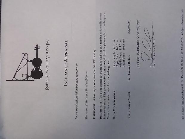 Hopf 4/4 Violin Late 19th | Creighton Loans and Music