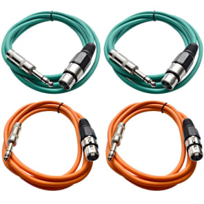 """Seismic Audio SATRXL-F6-2GREEN2ORANGE 1/4"""" TRS Male to XLR Female Patch Cables - 6' (4-Pack)"""