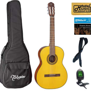 Takamine GC1LH NAT Classical Acoustic Guitar, Left Handed, Natural Bag Bundle for sale