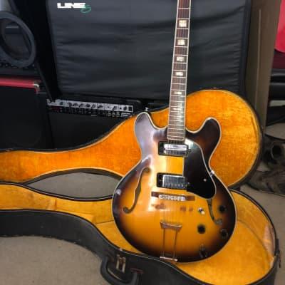 Ventura es-335 copy MIJ Lawsuit  1970 Yellow burst w/ case for sale