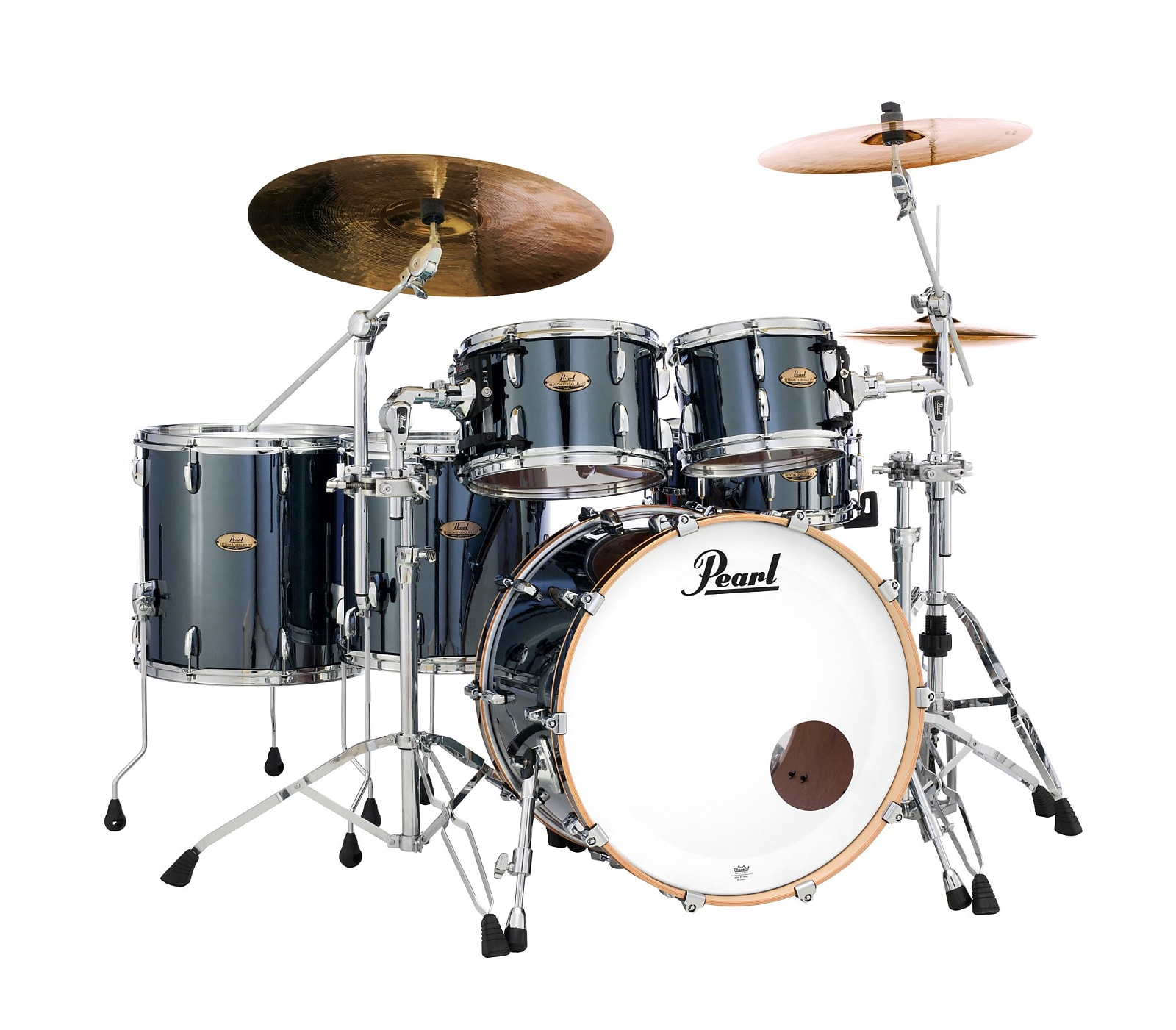 Pearl Session Studio Select Black Mirror Chrome 20/10/12/14/16 Drums +FREE  8x7 Tom Authorized Dealer