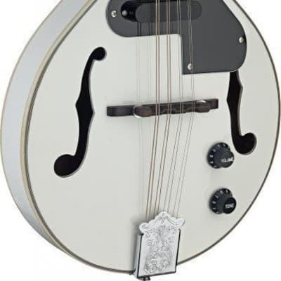 Stagg Model M50E/WH Gloss White Acoustic/Electric A-style Mandolin