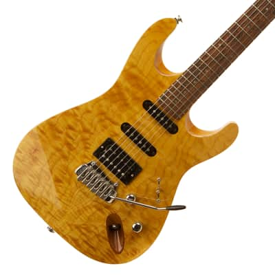Rob Williams DLX Super Strat Amber Quilted Maple & Swamp UK Made for sale