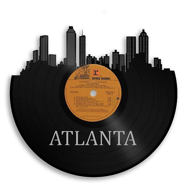 Atlanta Skyline Vinyl Wall Art - Gold / Framed | VINYLSHOPUS | Reverb
