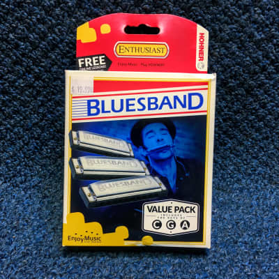 New Hohner Bluesband 3 Harmonicas Value Pack w/Case and Online  Lessons