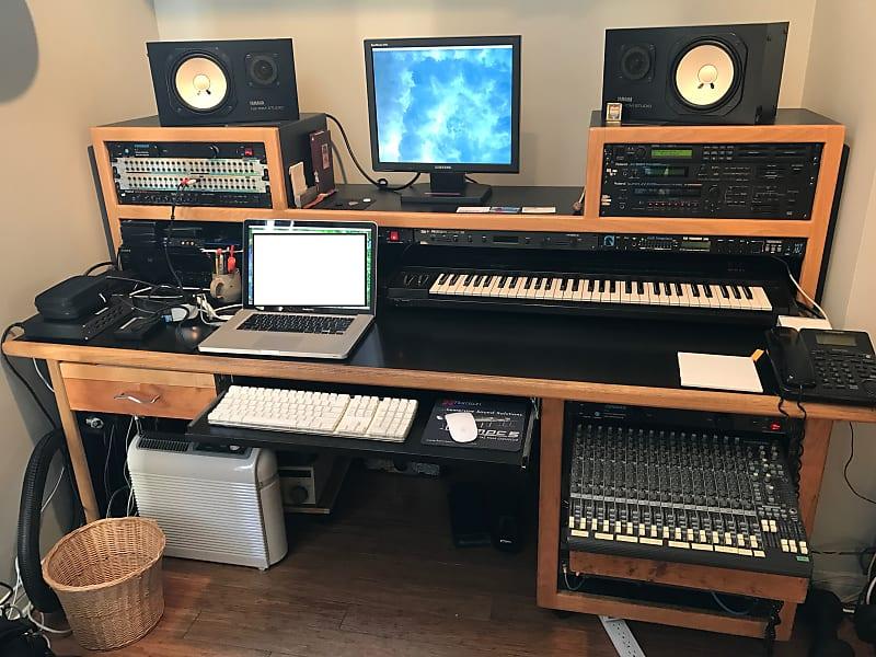 KK Audio audio desk - (make an offer    for a discount!) 1990s Black with  oak trim