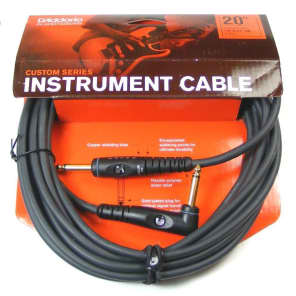 "Planet Waves PW-GRA-20 Custom Series 1/4"" TS Straight to Angled Gold-Plated Instrument Cable - 20'"