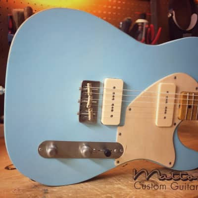 Sonic Blue Pinecaster P90's / Hard case & Free domestic shipping - Light weight 6lb. 1oz. for sale