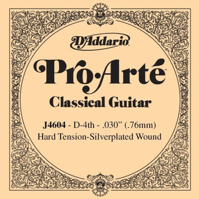 D'Addario J4604 Silver Wound Classical Guitar Single String - Hard Tenion