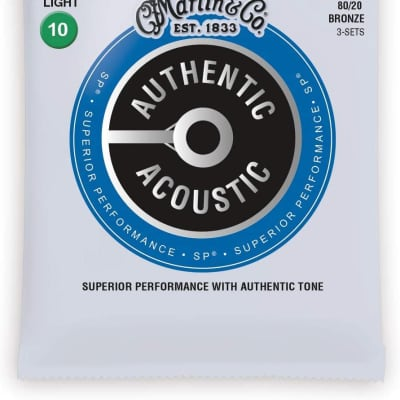 Martin MA170 Authentic Acoustic SP 80/20 Bronze Acoustic Guitar Strings - Extra Light (.10 - .47)