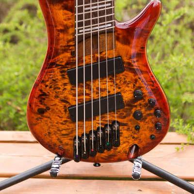 Ibanez SRMS806 2018 Brown Topaz Burst 6 string multi scale fan fret bass Bartolini pups