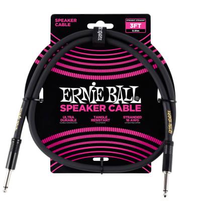 Ernie Ball 3' Straight / Straight Speaker Cable, Black (3-foot)