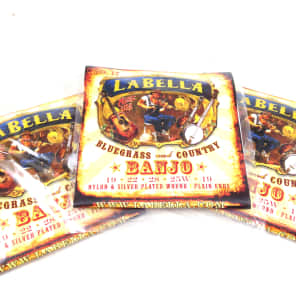 La Bella Banjo Strings * 3 Pack * No. 17 Nylon & Silver Plated Wound Plain Ends