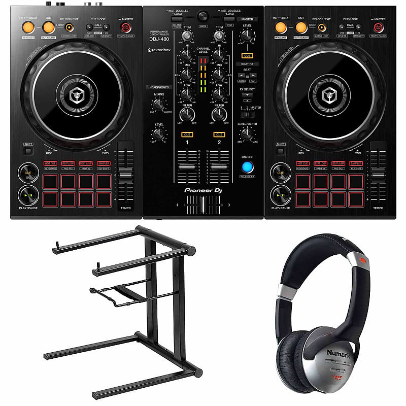 Pioneer DDJ-400 2-Ch Rekordbox DJ Controller w Software & Mixer + Laptop  Stand