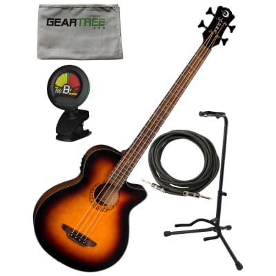 Luna LAB34TRIBALTSB Tribal Acoustic Electric 34'' Scale Bass Guitar w/ Stand, Cloth, Cable, and Tuner for sale