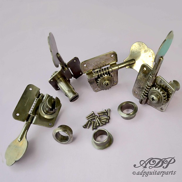 Schaller Basse Relic F-serie BMF P-J Bass Tuners Reverse 4xLeft Right  BMF-AG Aged Nickel