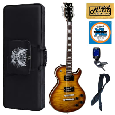 Dean TB DLX TAM Thoroughbred Deluxe Trans Amber Guitar, Soft Case Bundle
