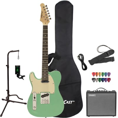 Sawtooth ET Series Left-Handed Electric Guitar with Gig Bag, 10 Watt Amp, and Accessories, Surf Green with Aged White Pickguard for sale
