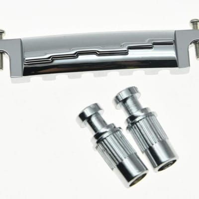 *NEW Wrap Around BRIDGE TAILPIECE + STUDS for Gibson Les Paul Junior Jr Chrome