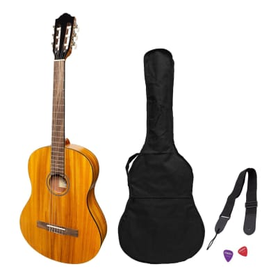 Martinez 'Slim Jim' Full Size Electric Classical Guitar Pack with Pickup/Tuner (Koa) for sale