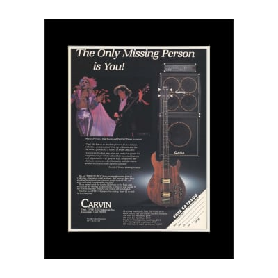 1984 Missing Persons for Carvin Basses Original Magazine Ad Double Matted for 11 x 14 Frame