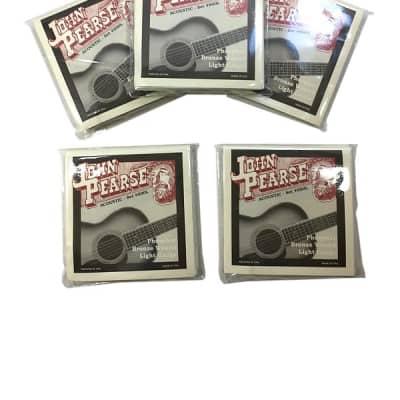 John Pearse Guitar Strings 5-Pack Acoustic Phosphor Bronze #600L Light