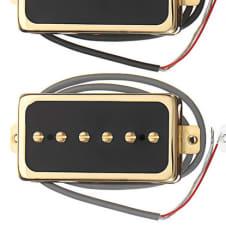 NEW P94 Pickups Set Humbucker Sized P90 Gold Black Covers Vintage Gibson Tone