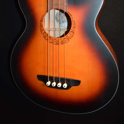 Luna Lab Tribal 34  Tobacco Burst Acoustic Electric Bass Guitar for sale