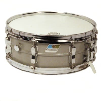 """Ludwig L-404 Acrolite 5x14"""" Aluminum Snare with Rounded Blue/Olive Badge 1980s"""