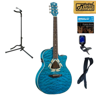 Luna FAU DF QM Fauna Dragonfly Quilted Maple Cutaway A/E Guitar, Stand Bundle for sale