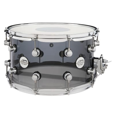 "DW Design Series Limited Edition 8x14"" Smoke Acrylic Snare Drum"