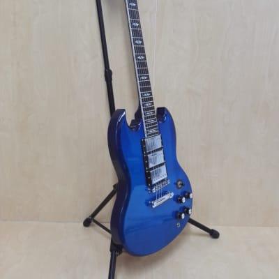 Haze 340 ATBL All Mahogany SG Electric Guitar, Trans. Blue, H-H-H Pickups+Gig Bag for sale