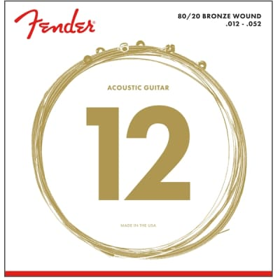 Fender 80/20 Bronze Acoustic Strings - Ball End, 12-52 for sale