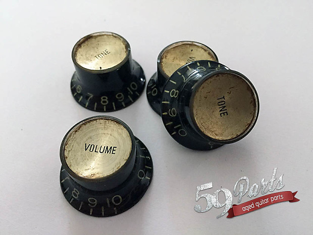 set of 4 hand aged gibson les paul reflector knobs reverb. Black Bedroom Furniture Sets. Home Design Ideas