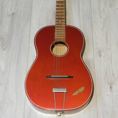 rare small vintage  parlor guitar Klira Triumphator Junior red Hammerschlag Germany 1950s for sale