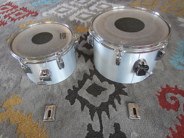Tama Imperialstar 10/12 Concert Toms with Stand 1970's Metallic White