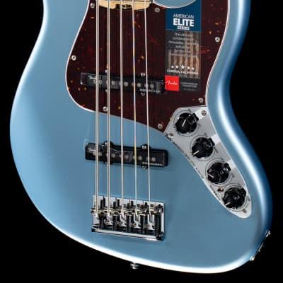 Fender American Elite Jazz Bass V Satin Ice Blue Metallic Maple (684) for sale