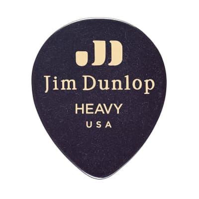 Dunlop 485R03HV Celluloid Black Teardrop Heavy Guitar Picks (72-Pack)