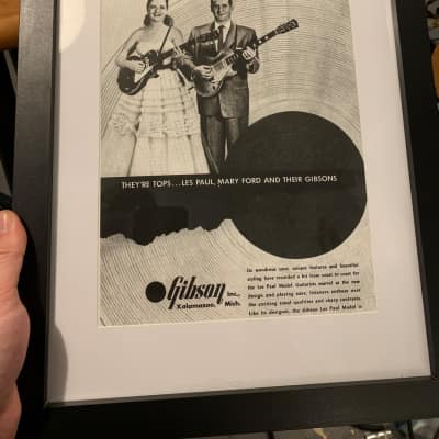 Vintage Framed Gibson Les Paul Ad from 1953 (Print)