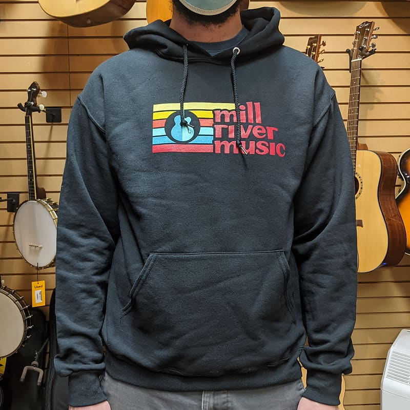Mill River Music Pullover Hoodie 1st Edition Main Logo Unisex Black Medium