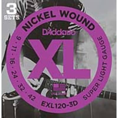 D'Addario EXL120-3D Nickel Wound Electric, Super Light, 9-42, 3 Pack for sale