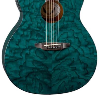 Luna GYP E QA TEAL Gypsy Quilt Ash Trans Teal A/E Guitar for sale