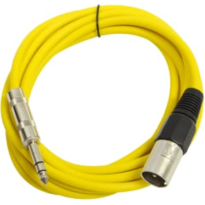 "Seismic Audio SATRXL-M10YELLOW XLR Male to 1/4"" TRS Male Patch Cable - 10'"